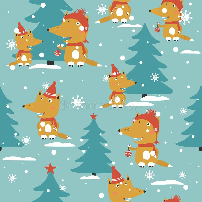 Raposas, abeto, neve, teste padrão sem emenda ilustração do vetor