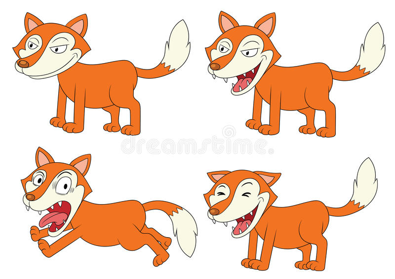 Raposas bonitos dos desenhos animados ajustadas Animais engraçados da floresta em poses diferentes ilustração do vetor