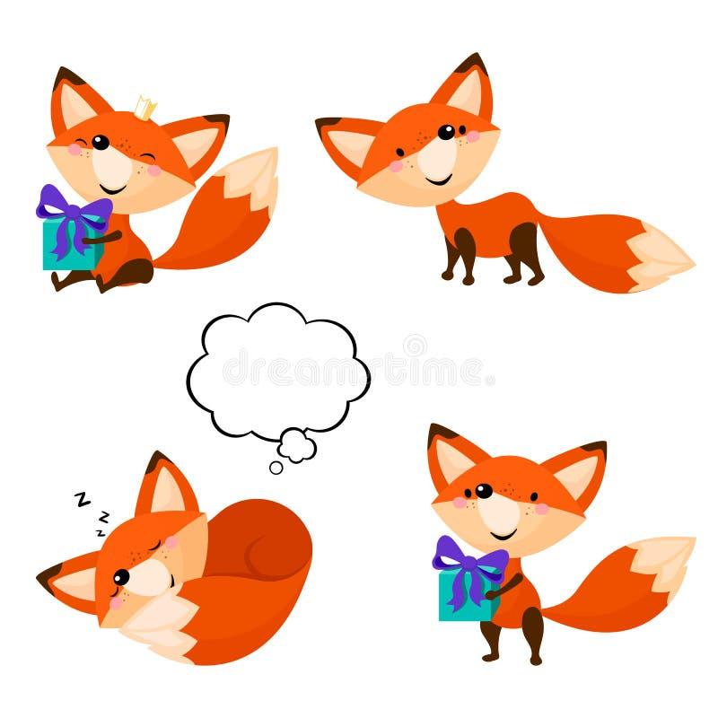 Raposas bonitos dos desenhos animados ajustadas Raposas engraçadas em poses diferentes ilustração stock