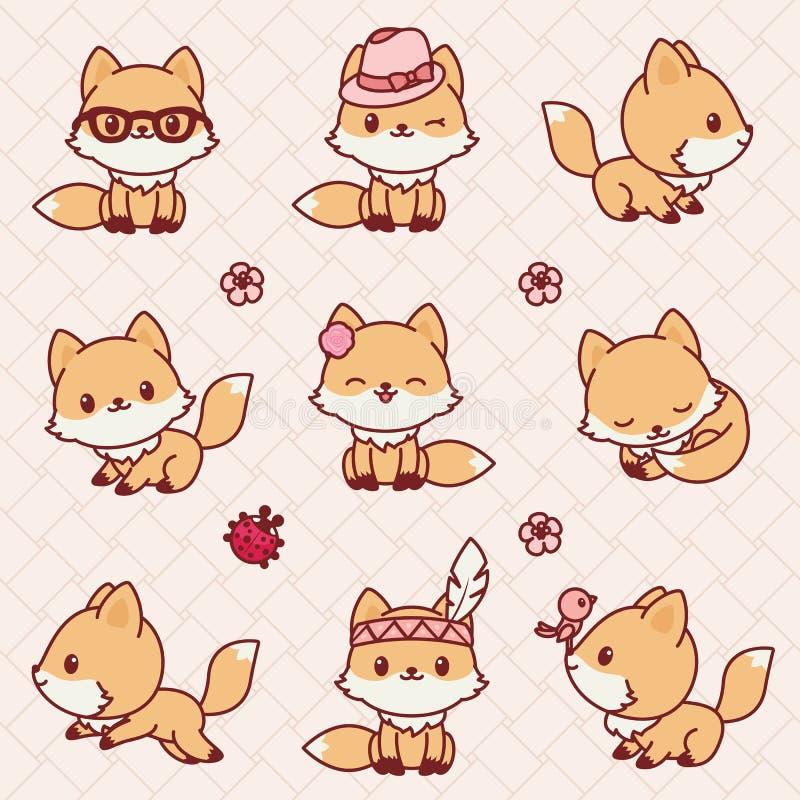 Raposas de Kawaii ilustração stock