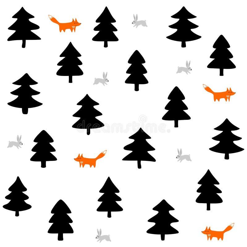 Raposas e coelhos em uma Floresta Negra no fundo branco ilustração do vetor