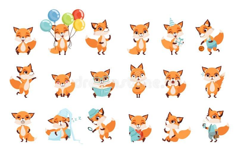 Raposas pequenas bonitos que mostram várias emoções e ações Personagens de banda desenhada de animais da floresta Projeto liso do ilustração royalty free