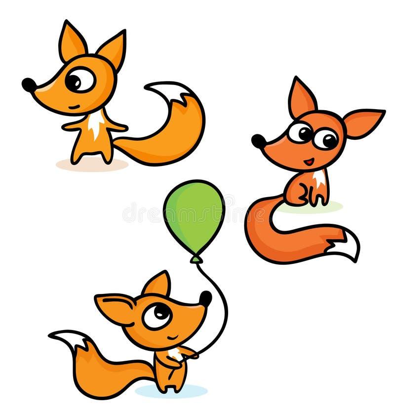 Raposas pequenas felizes ilustração do vetor