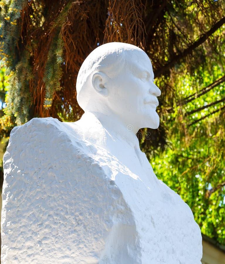 Rappa bysten av Lenin på en bakgrund av soligt väder för grön sommar arkivbilder