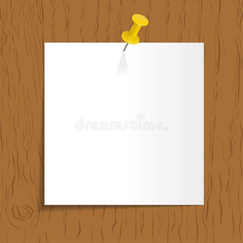 Rappel blanc avec la goupille sur le fond en bois illustration libre de droits