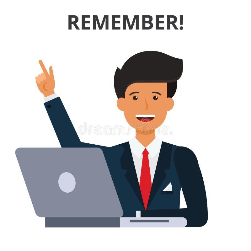 Rappelez-vous le concept Programme d'affaires, gestion du temps de génération d'idée illustration de vecteur