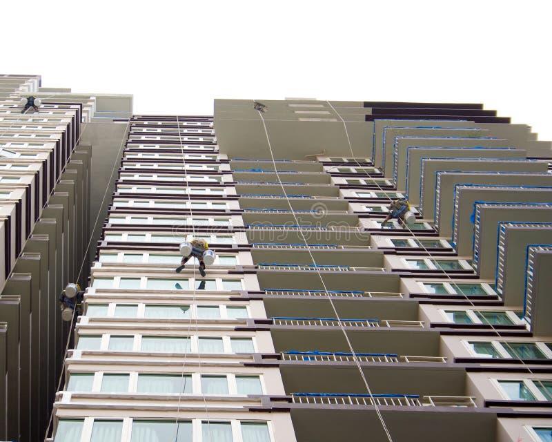 Rappelling здание. стоковое изображение