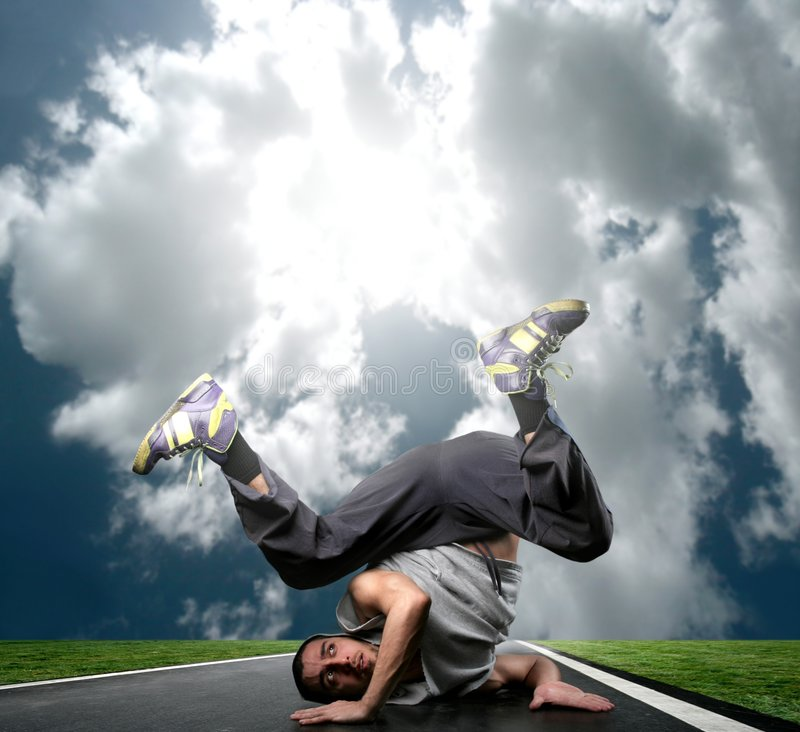 Rapper. A young dancer on the street stock photos