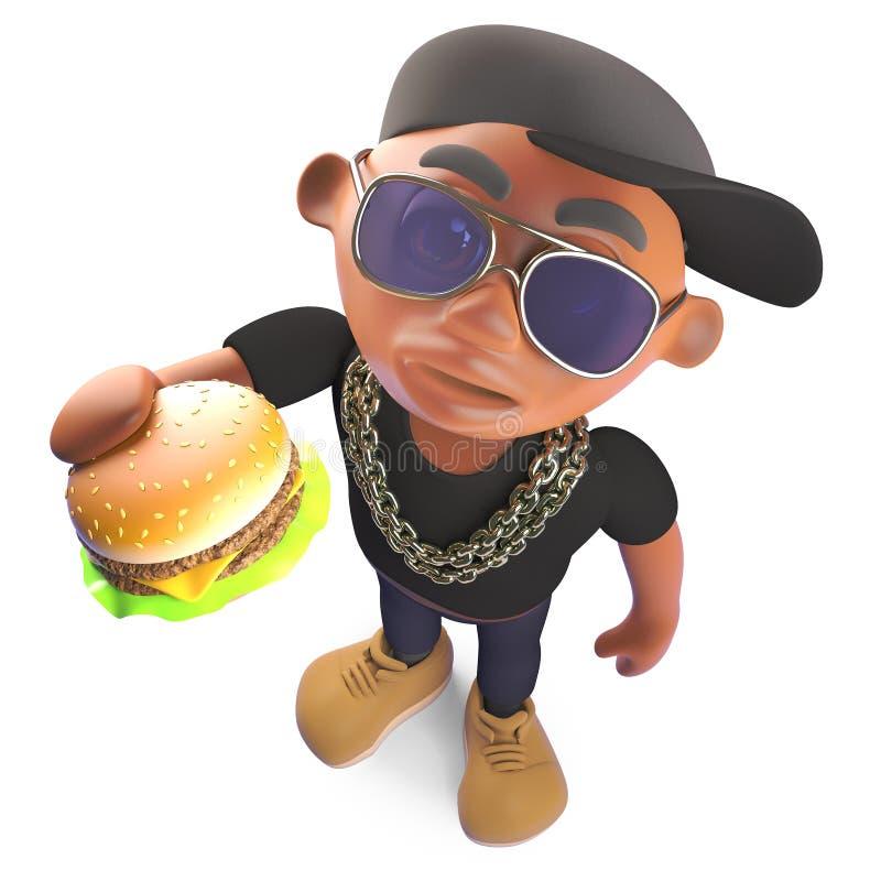 Rapper de hiphop do preto dos desenhos animados que come um petisco do cheeseburger, ilustração 3d ilustração royalty free