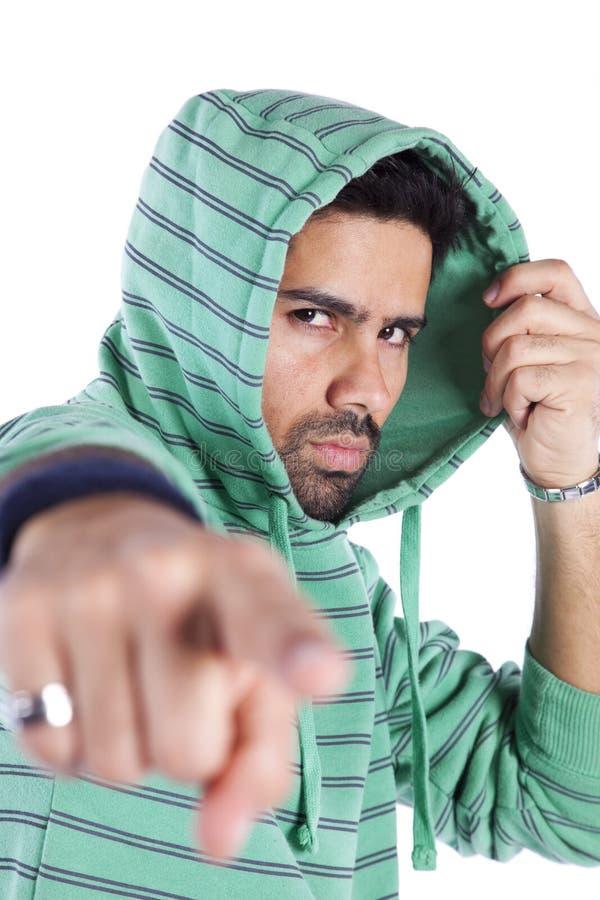 Rapper die aan u richt royalty-vrije stock fotografie