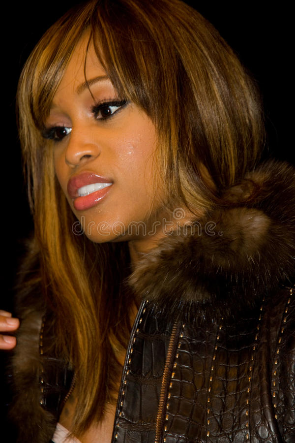 Rapper Eve at NYC Fashion Week Fall 2011. EW YORK, NY - FEBRUARY 11: Rapper Eve is interviewed backstage at the Rebecca Minkoff Fall 2011 fashion show during stock image