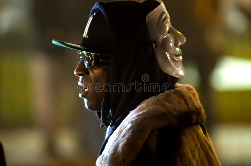 Rapper flavor flav. Iconic rapper Flavor flav of Public Enemy leads protesters at Ferguson Missouris police station after the Michael Brown shooting verdict stock photos