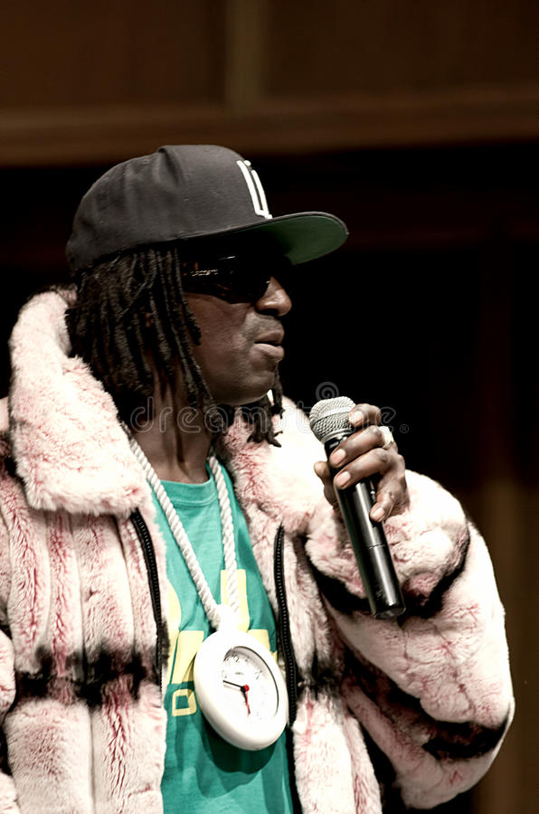 Rapper flavor flav. Iconic rapper Flavor flav of Public Enemy speaks at Ferguson Missouris Wellspring Church, about the on going unrest in the Michael Brown stock photos