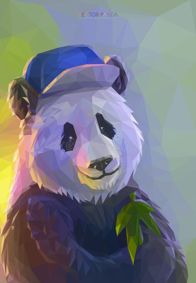 Rapper fresco da panda no estilo poligonal ilustração do vetor