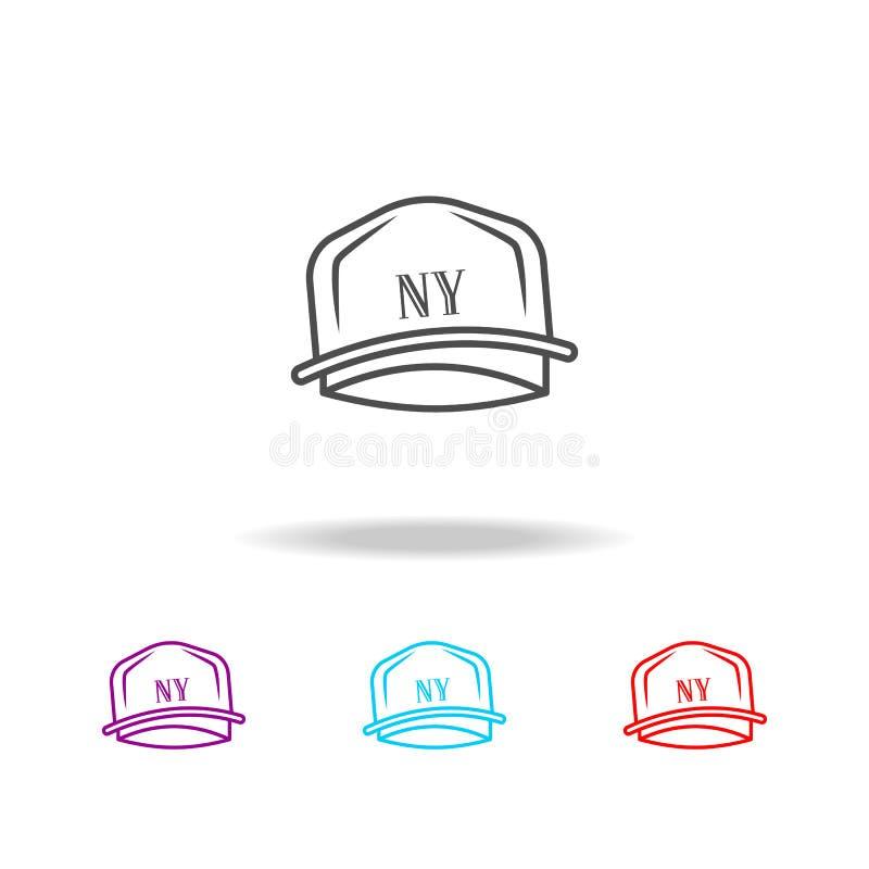 Rapper hoedenpictogram Elementen van levensstijl in multi gekleurde pictogrammen Grafisch het ontwerppictogram van de premiekwali vector illustratie