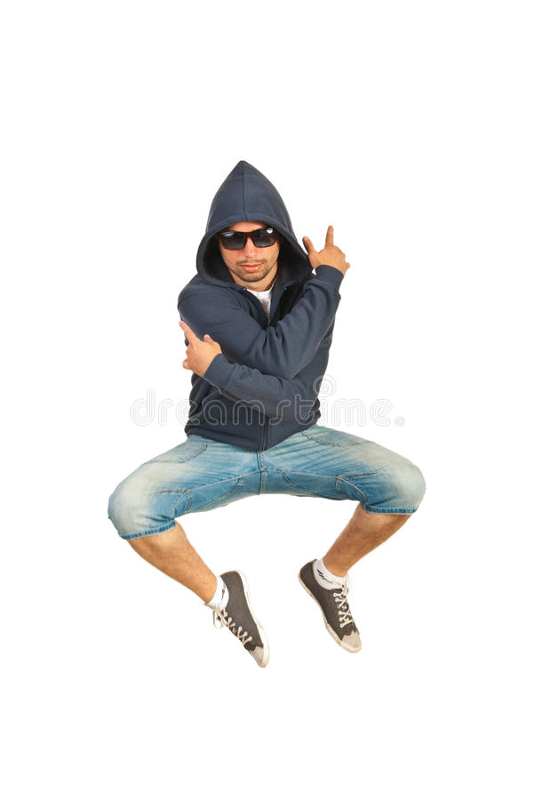 Rapper man jumping. Isolated on white background stock images