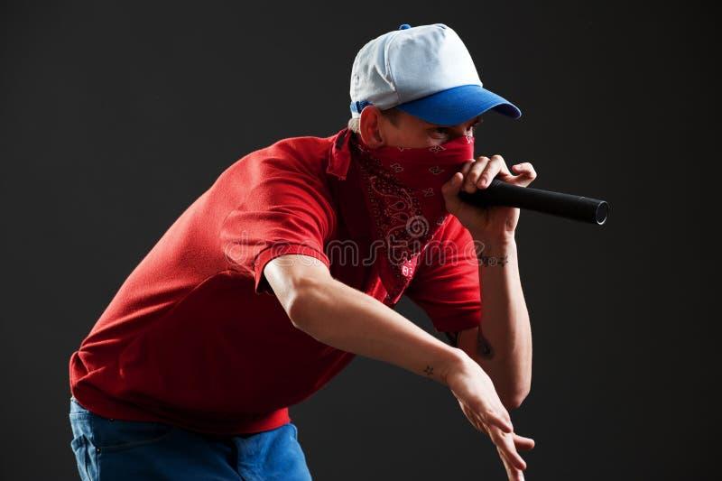 Rapper met microfoon royalty-vrije stock fotografie