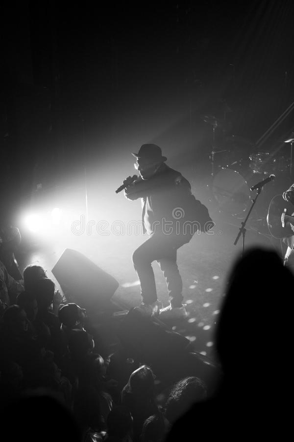 Rapper silhouette. Rapper with old school Run DMC style performing during a show in Montreal royalty free stock photos