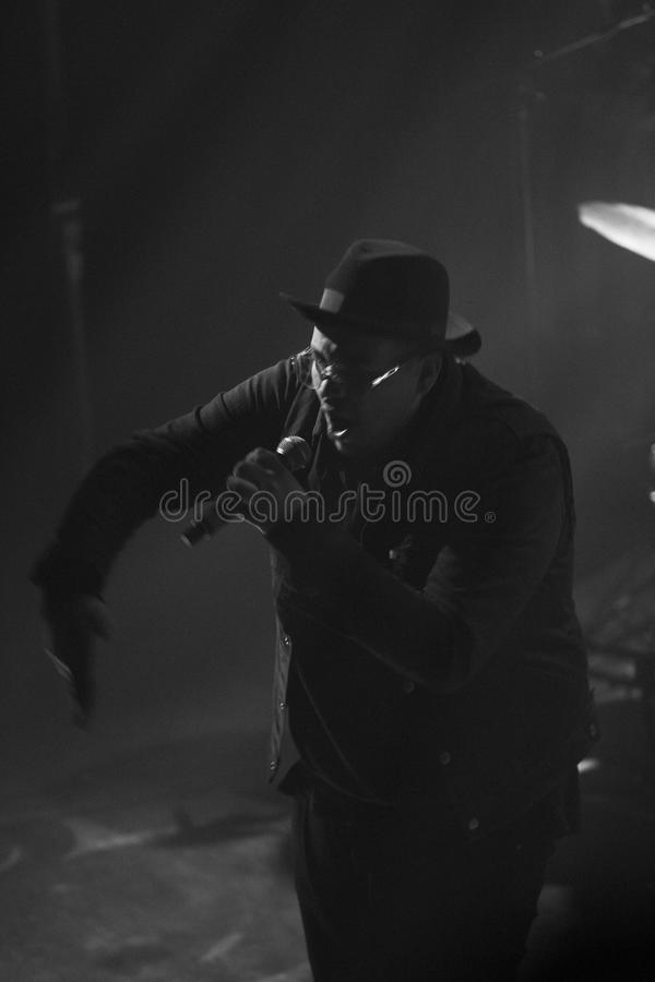 Rapper silhouette. Rapper with old school style performing royalty free stock photo