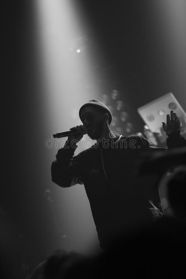 Rapper silhouette. During a show in Montreal stock photos