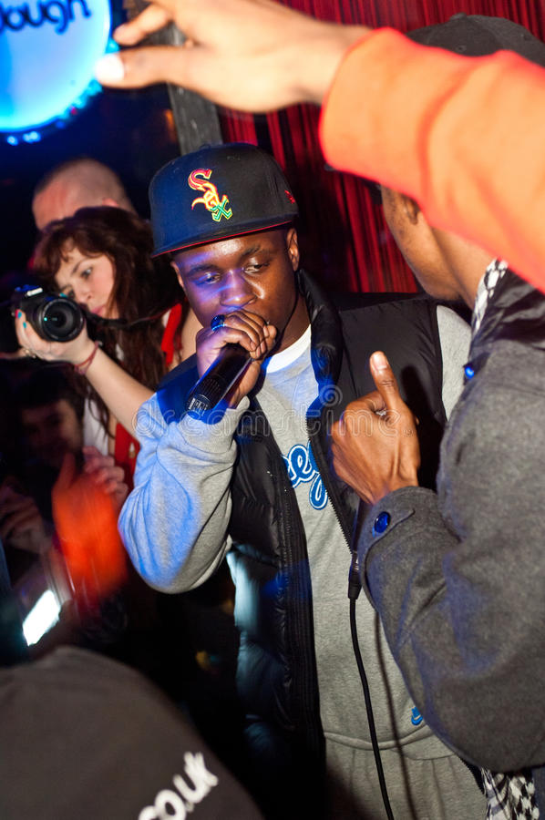 Rapper Tempa T parties in Tup Tup Palace. NEWCASTLE UPON TYNE, UK - MARCH 3: Rapper Tempa T parties in Tup Tup Palace nightclub, Newcastle Upon Tyne, UK on MARCH stock photo