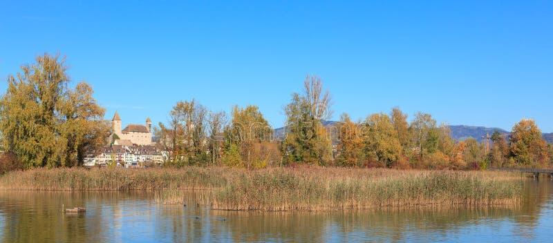 Rapperswil sjö Obersee, höst royaltyfria bilder