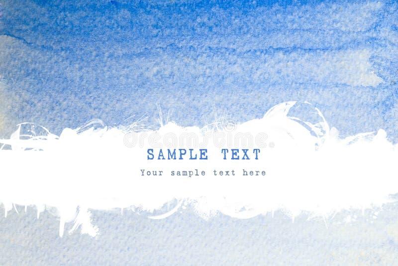 Rappes bleues de balai d'aquarelle avec l'espace de brouillon images libres de droits