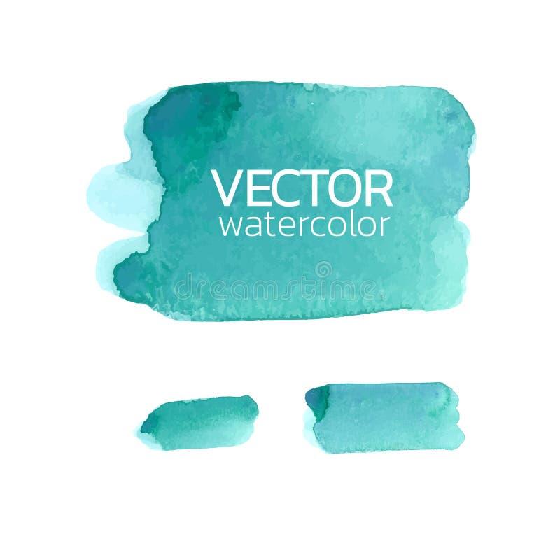 Rappes bleues de balai d'aquarelle Course de brosse de vecteur pour la conception photo libre de droits