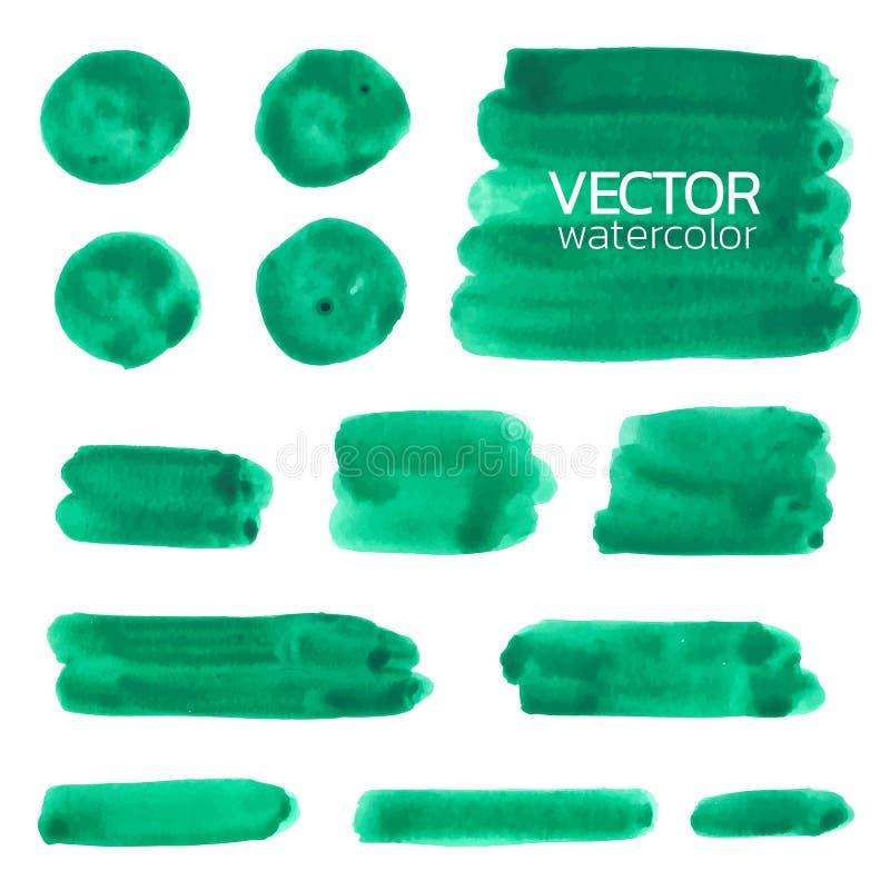 Rappes vertes de balai d'aquarelle Course de brosse de vecteur illustration stock