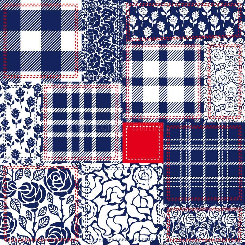 Rappezzatura blu, bianca e rossa Collage della Boemia di stile fatto dalle falde del cotone illustrazione di stock