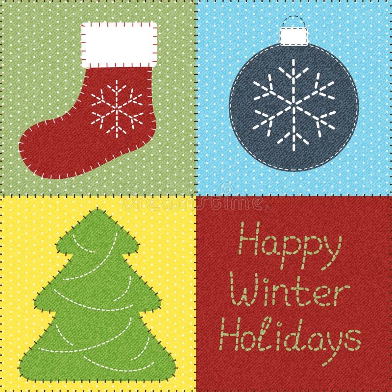 Rappezzatura con i motivi di Natale illustrazione vettoriale