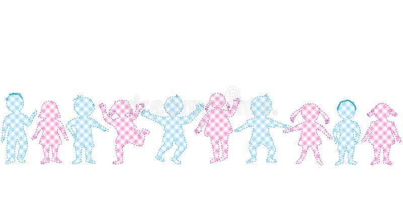 Rappezzatura con le ragazze ed i ragazzi royalty illustrazione gratis