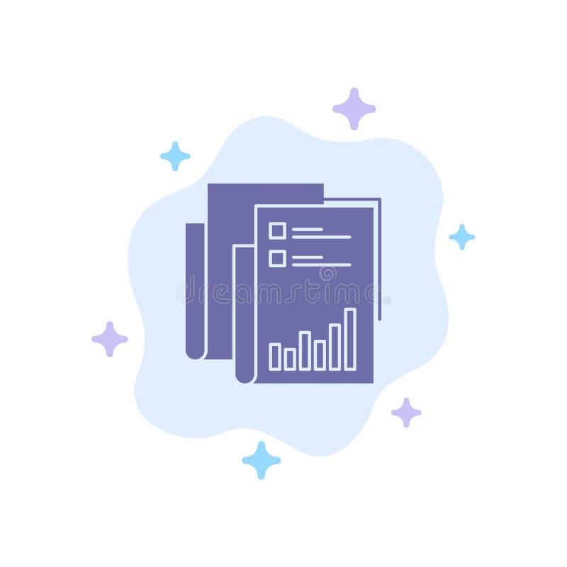 Rapport, Analytics, Controle, Zaken, Gegevens, Marketing, Document Blauw Pictogram over Abstracte Wolkenachtergrond vector illustratie