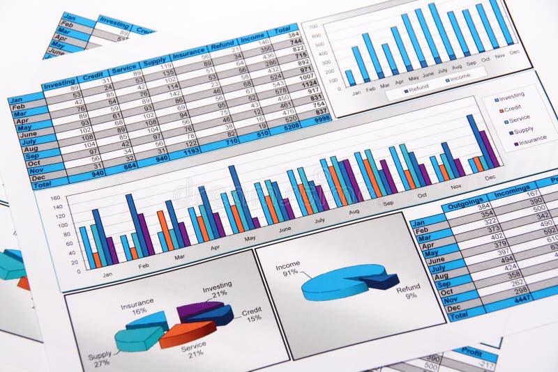 Rapport annuel. Graphique. Tableau. Diagramme. Analisys. photographie stock libre de droits