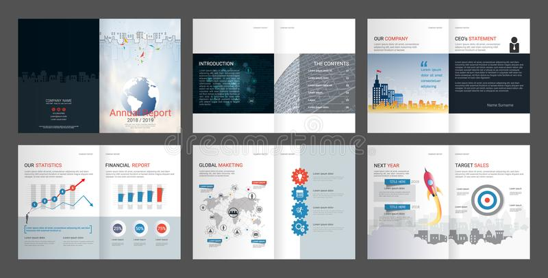 Rapport annuel, profil d'entreprise, brochure d'agence, calibre universel de présentation illustration libre de droits