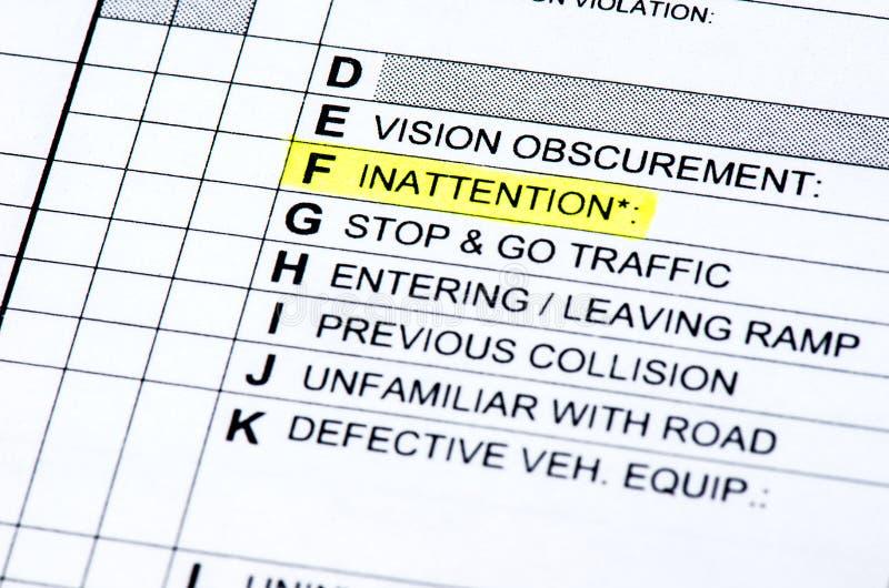 Rapport de collision image libre de droits