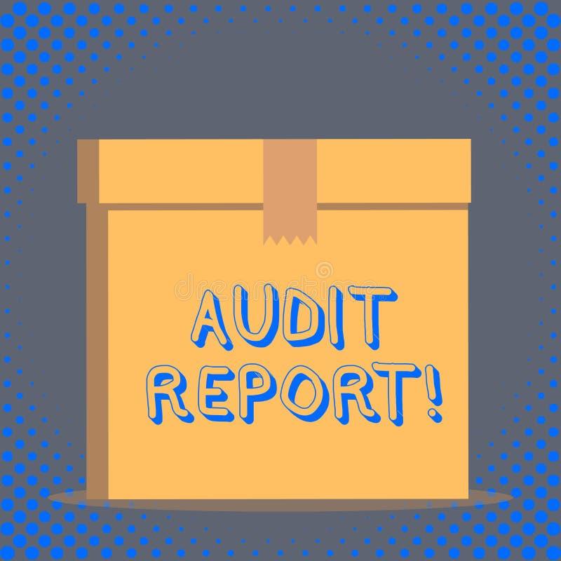 Rapport de contr?le des textes d'?criture de Word Concept d'affaires pour l'opinion écrite d'un commissaire aux comptes au sujet  illustration de vecteur