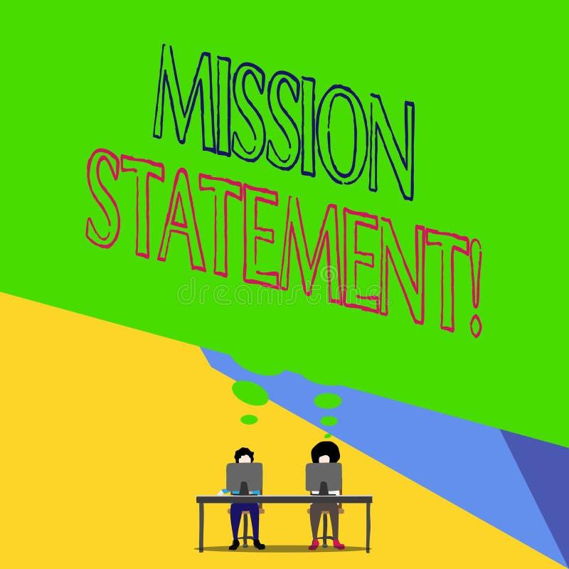 Rapport de mission des textes d'?criture de Word Concept d'affaires pour le r?sum? formel des objectifs et des valeurs d'une soci illustration de vecteur