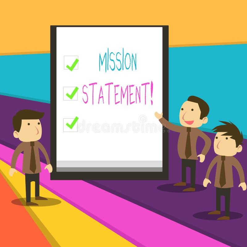 Rapport de mission des textes d'?criture de Word Concept d'affaires pour le r?sum? formel des objectifs et des valeurs d'une soci illustration libre de droits