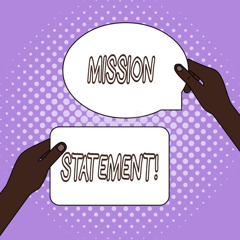 Rapport de mission des textes d'?criture de Word Concept d'affaires pour le r?sum? formel des objectifs et des valeurs d'une soci illustration stock