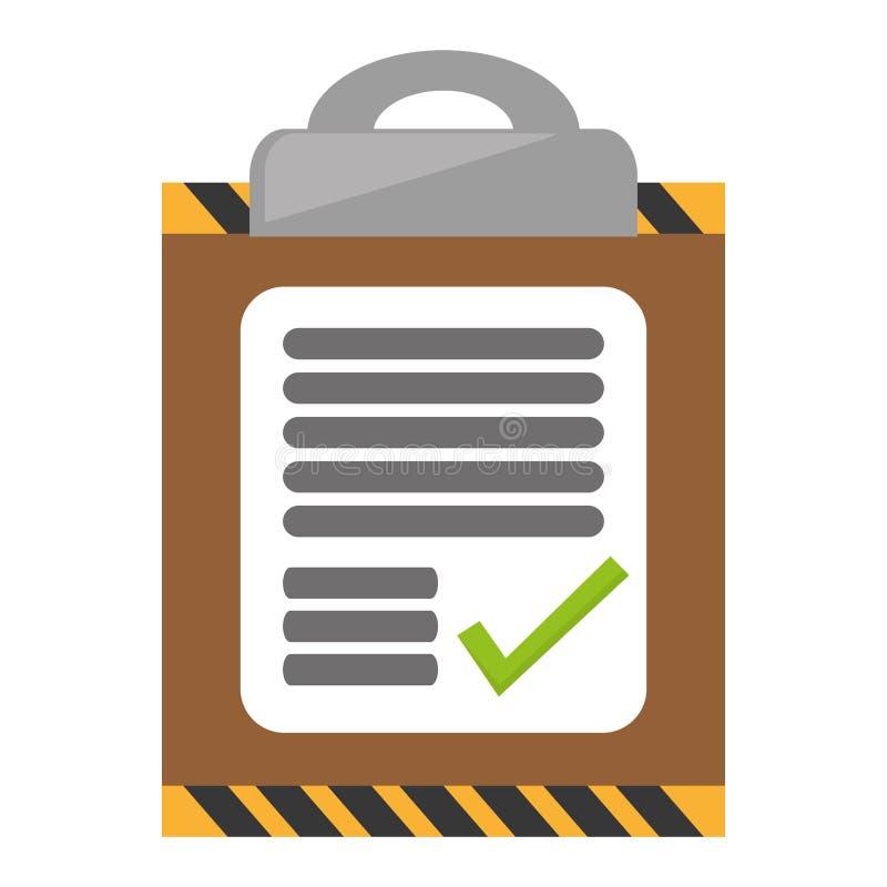 rapport för arbete för leverans för skrivplattakontrolllista stock illustrationer