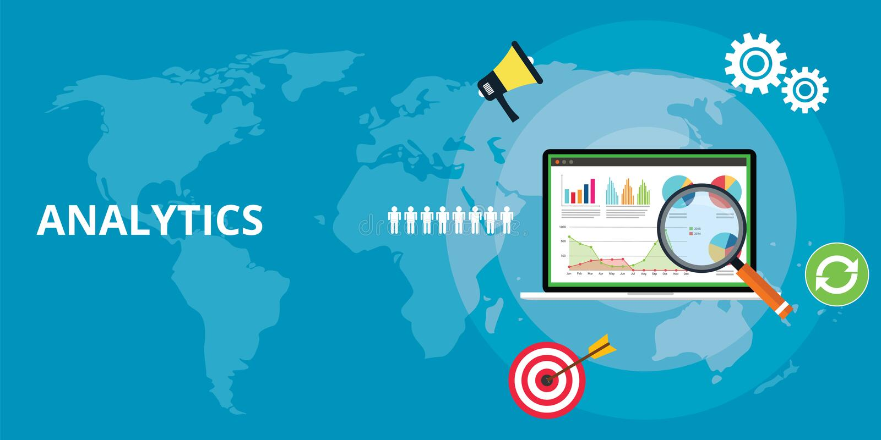 Rapport för teknologi för analytics för Websiterengöringsdukapps som analyserar med grafdiagrammet och data vektor illustrationer