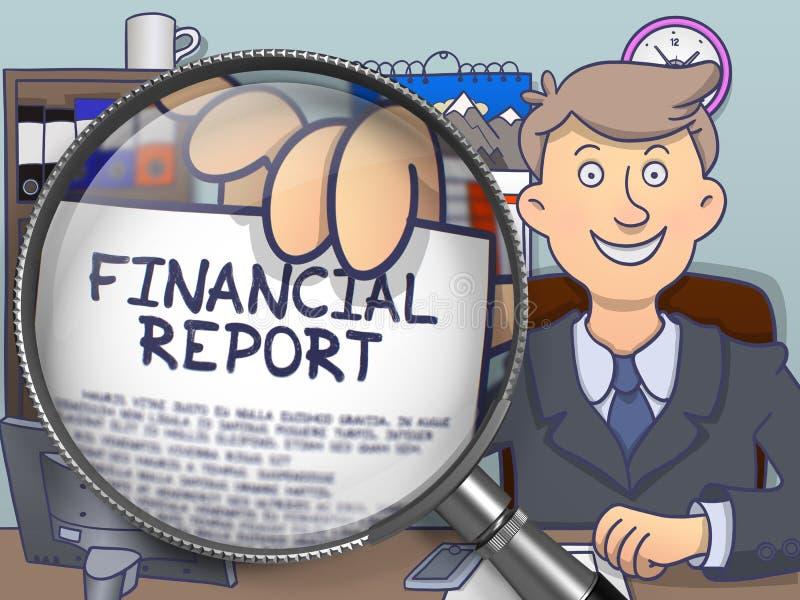 Rapport financier par la loupe Conception de griffonnage illustration de vecteur