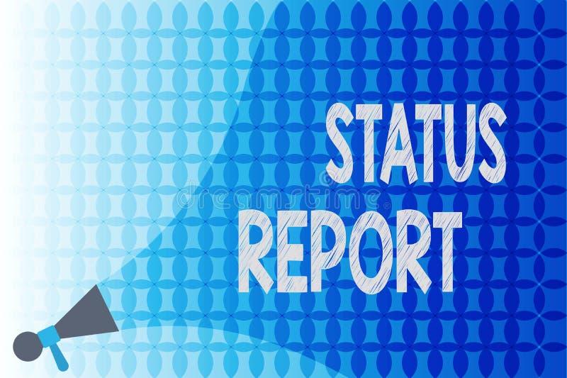 Rapport sur l'état d'avancement des travaux des textes d'écriture de Word Concept d'affaires pour le résumé de mise à jour des si illustration libre de droits