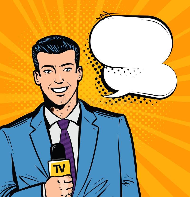 Rapport vivant, actualités, concept de TV Journaliste avec le microphone à disposition Style comique d'art de bruit rétro Vecteur illustration libre de droits