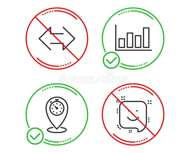 Rapportdiagram, tidm?tare- och synkroniseringssymbolsupps?ttning Leendetecken Finansmarknaden l?gepekare, synkroniserar vektor vektor illustrationer