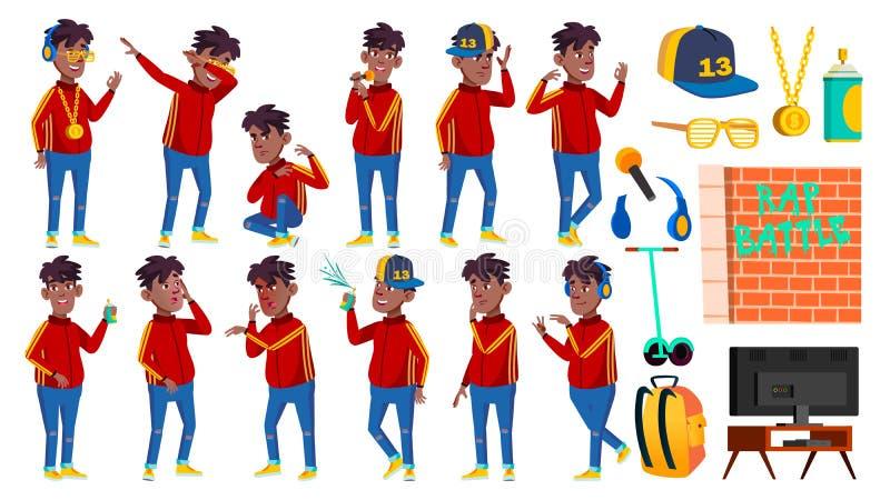Rapporteur-de Vastgestelde Vector van Boy Schoolboy Poses van de Flessenzanger zwart Afro Amerikaan Kindleerling Actief, Vreugde, stock illustratie