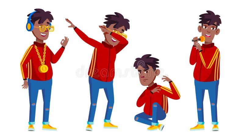 Rapporteur-de Vector van Boy Schoolboy Set van de Flessenzanger zwart Afro Amerikaan Jong, Leuk, Grappig Voor Presentatie, Druk stock illustratie