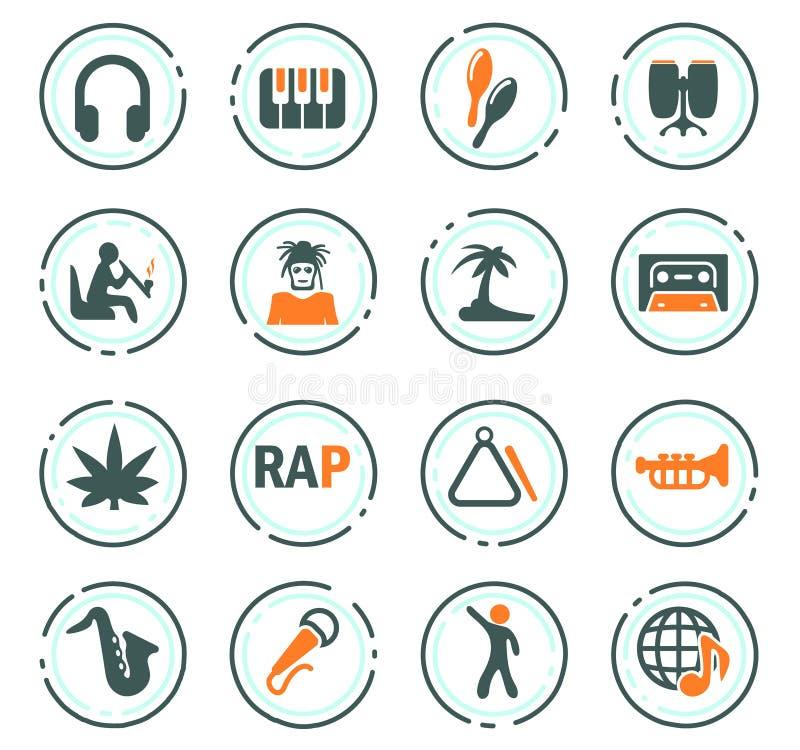 Rapporteur-Geplaatste Muziekpictogrammen stock illustratie