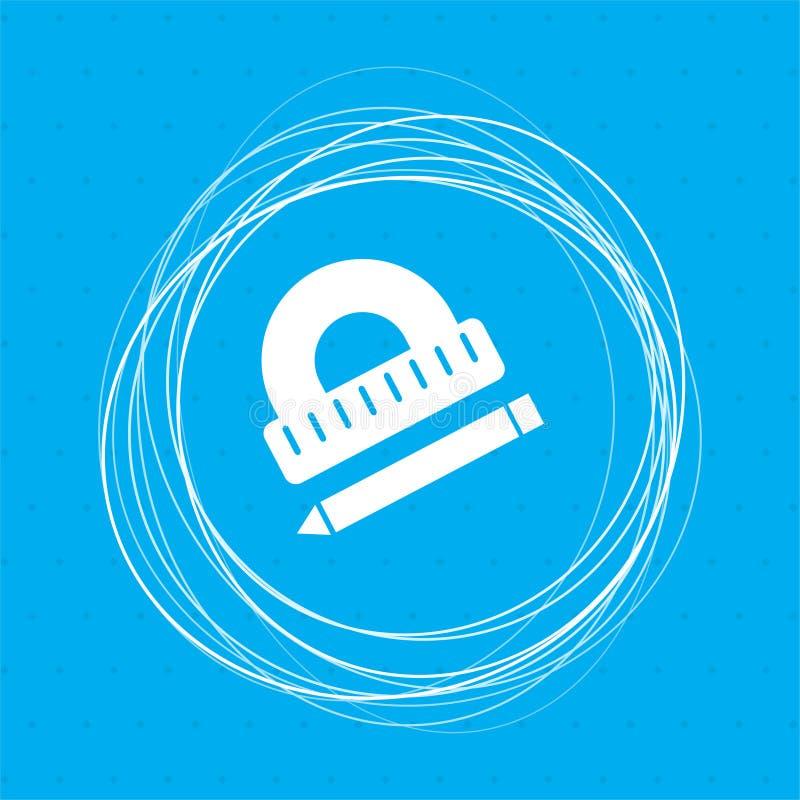 Rapporteur, règle, icône de stylo sur un fond bleu avec les cercles abstraits autour de et l'endroit pour votre texte illustration libre de droits
